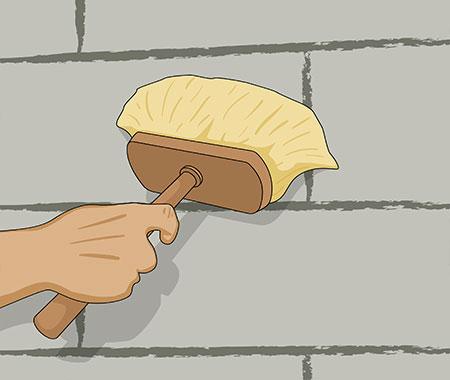 Steg 3. Innan du ska putsa en innervägg ska du alltid börja med att grunda väggen med grundningsbruk.