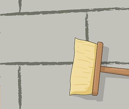 Steg 2. När du ska putsa en innervägg börja alltid med att förvattna väggen med kalkkvast.