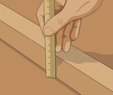 se till att höjden på virket kommer att motsvara plattans tjocklek