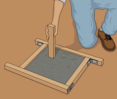 Packa betongblandningen hårt