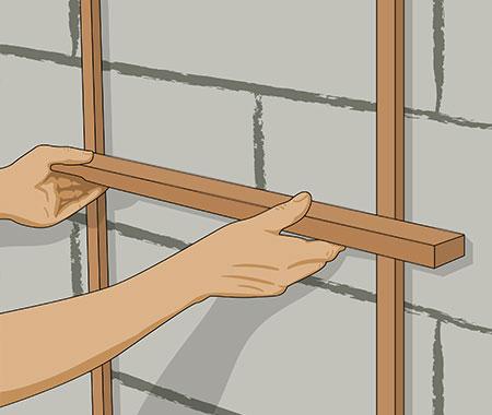 Steg 5. Kontrollera att avjämningslisterna sitter jämt med en rätkäpp.