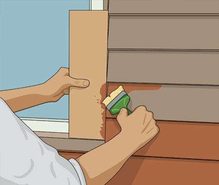 När du målar vid fönster skyddar du foder i avvikande färg med en bredspackel eller pappskiva