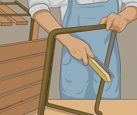 Stålborsta området och bearbeta därefter med slipduk ner till ren metall