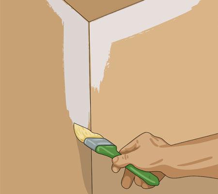 Sparmåla först alla kanter mot tak, golv, hörn och snickerier
