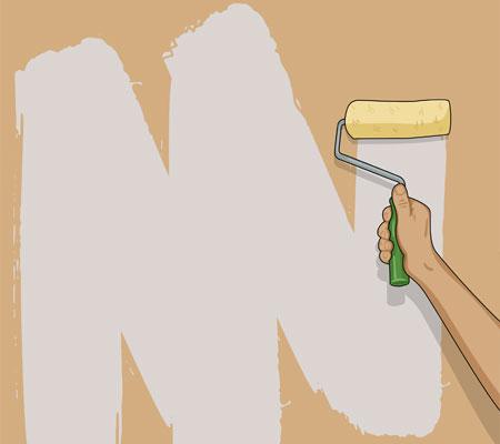 I stället för att måla i fält kan du stryka väggen i följande rörelsemönster