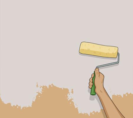 Stryk därefter väggen i ett W-mönster så att färgen täcker väggen