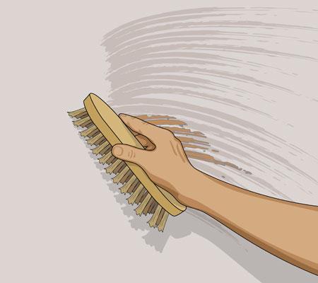 Borsta hela ytan noggrant med en piassavakvast eller annan hård borste