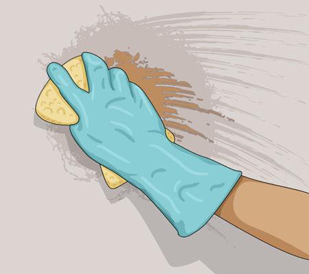 Väggar som inte kräver förarbete ska tvättas noga med målartvätt