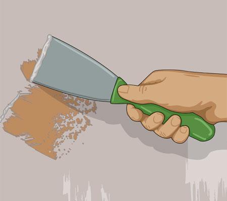 Skrapa loss all lös färg med en spackel
