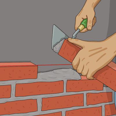 Mura och lägg murbruk på stenens kortsida