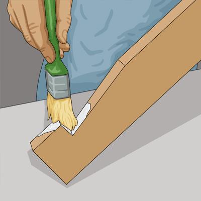 Det är extra viktigt att du målar tapp och slits.