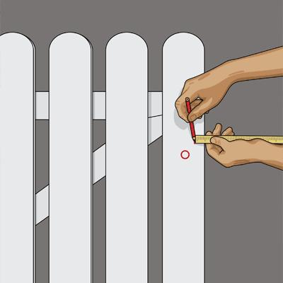 Mäter ut och markerar för grindlåset.