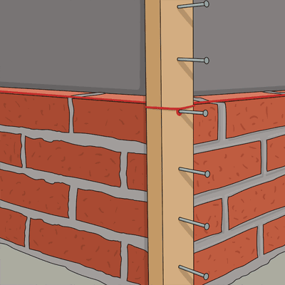 Börja med att mura upp ett hörn
