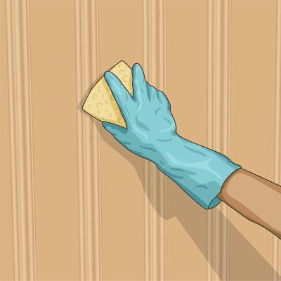 Rengör ytan noggrant med svamp
