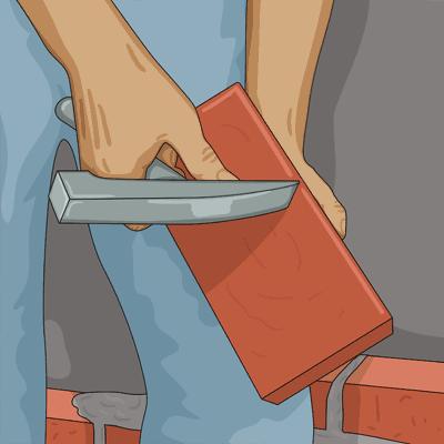 Ritsar tegelsten med penen på en murarhammare