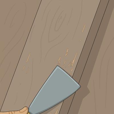 Skrapar bort kåda som blött igenom lasyren med en stålspackel