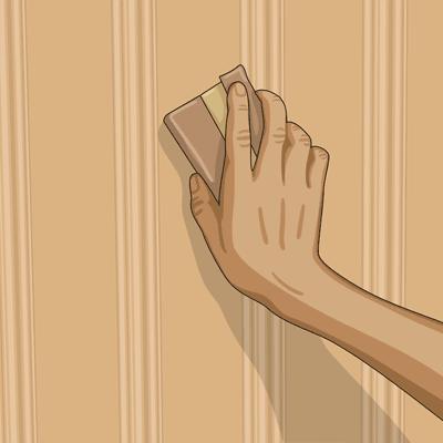 Slipa med slippapper i träets längdriktning