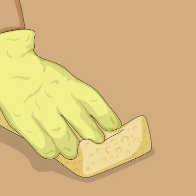 Använder golvborttagningsmedel och tvättar bort all golvpolish