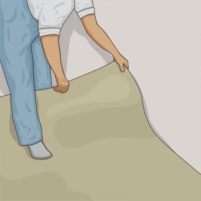 Lägger den första våden kant i kant med väggen.