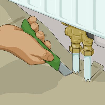 Lägger ett snitt i vinkel mellan golvet och väggen