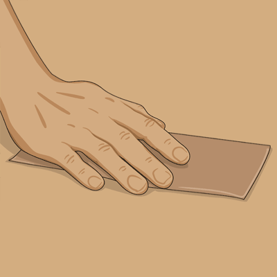 Ruggar upp golvmatta med slippapper