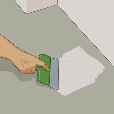 Använder vattenfast spackel och spacklar igen alla ojämnheter