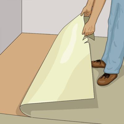 Vik försiktigt tillbaka våden intill en vägg till hälften.